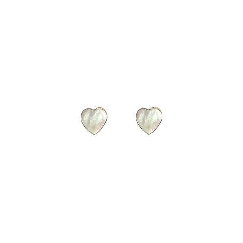 PE60 Mother of Pearl Heart Post Earrings