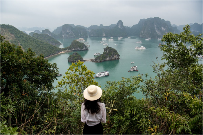 Sailing through Halong Bay on a luxury cruise