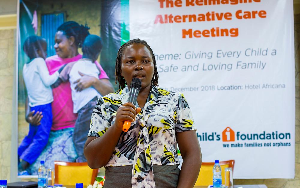 Mary Nakazibwe, Probation Officer Wakiso District , making her presentation during the workshop