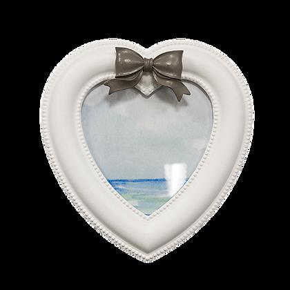 Фоторамка Сердце с серым бантиком