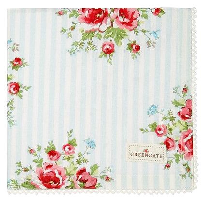Салфетка из хлопка с цветами в голубую полоску