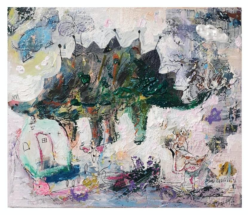 林慧姮 在山裡玩耍  30x26cm,壓克力、畫布,2014
