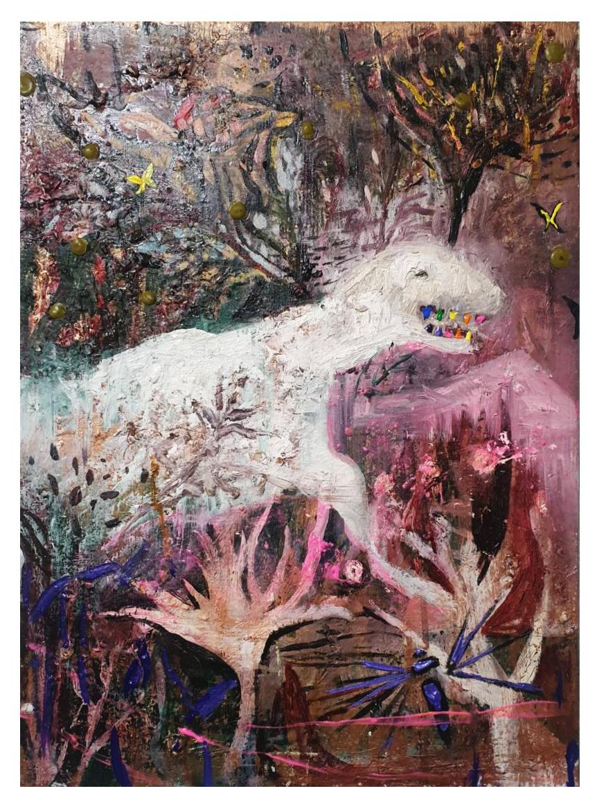 10.萬聖節的彩色牙齒33x45cm.oil on canvas 2016