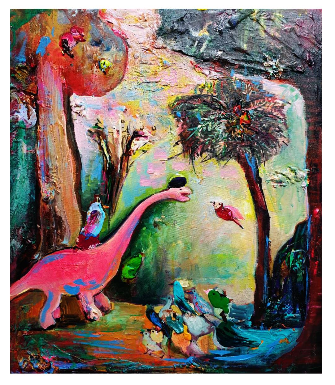 畫家恐龍的森林遊記45x53cm 2020 oil on canvas