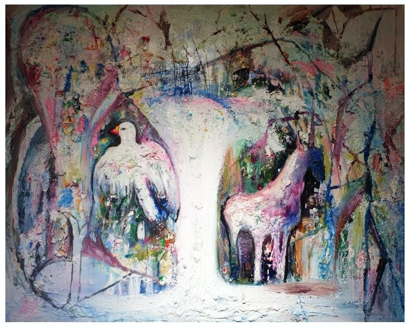 林慧姮 瀑布 waterfall  90.8x72.5cm,油彩、畫布,2019  2