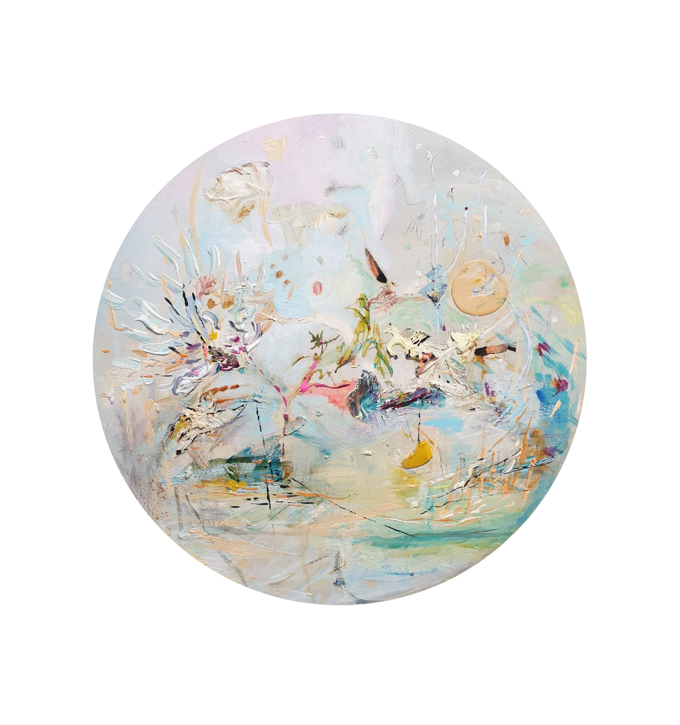 佈滿蚊子星星的天空 oil on cavas 50x50cm  2020