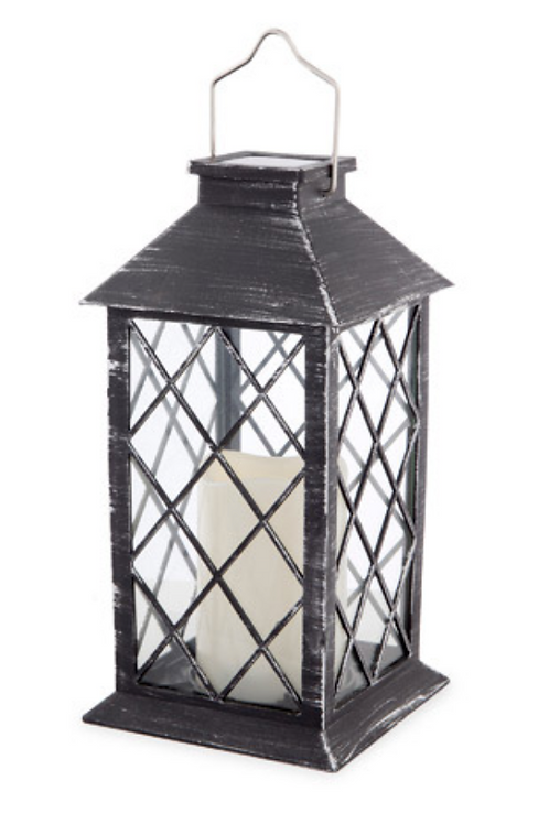 Black with Brushed Silver LED Solar Powered Candle Lantern