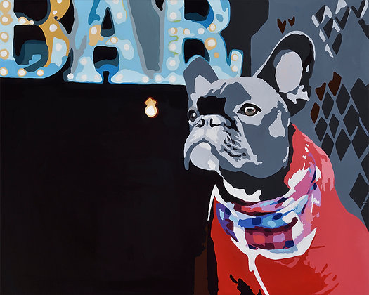 Biggie Bar the Frenchie, Giclee Print