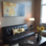 Gray & Yellow Custom Abstract Artwork in a livingroom