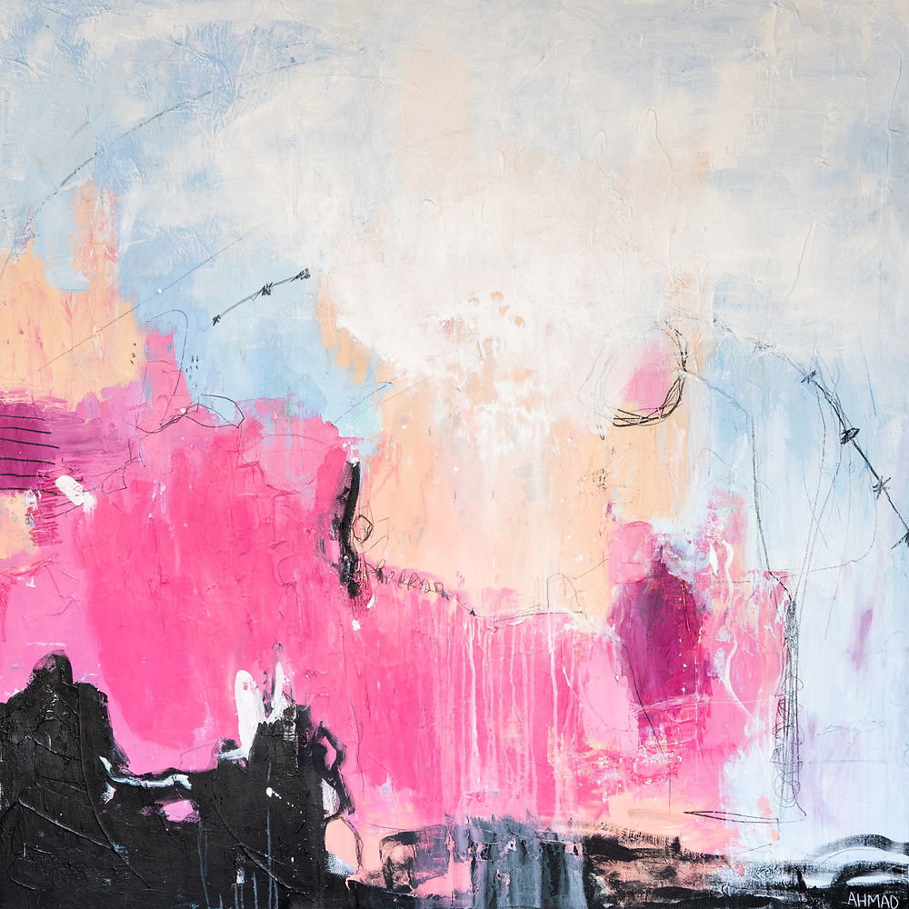 large scale abstract, oversized abstract, abstract art, canvas art, pink abstract, black abstract, blue abstract, mixed media, julie ahmad art