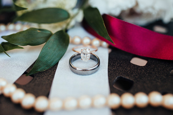 wedding details ring shot with pearls
