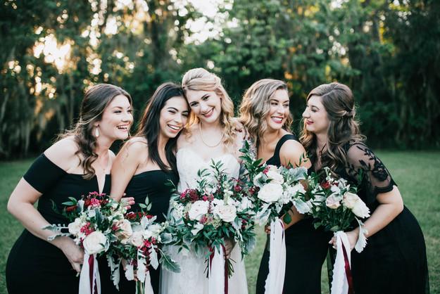 bridal party girls pose