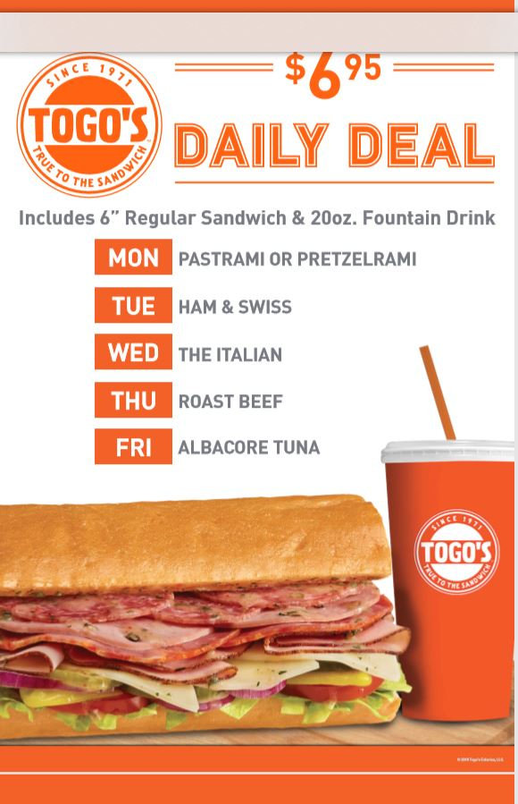 Togo's Daily Deal