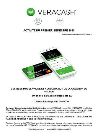 20201210_VERACASH_CP_Activité du premier