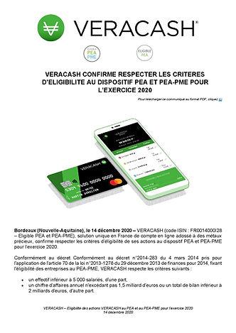 20201214_VERACASH_CP_Eligibilité PEA-PME