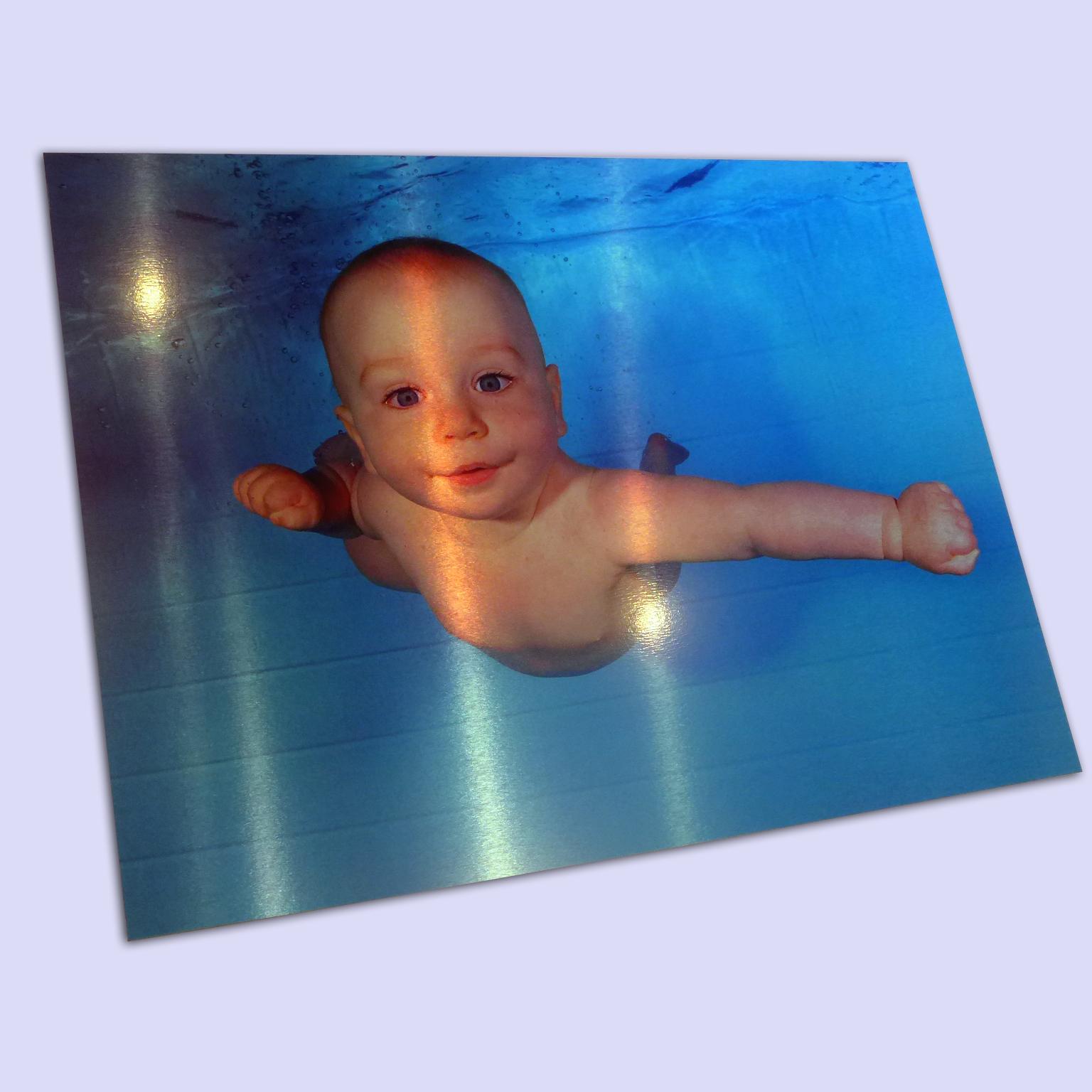 Family photos printed onto metal