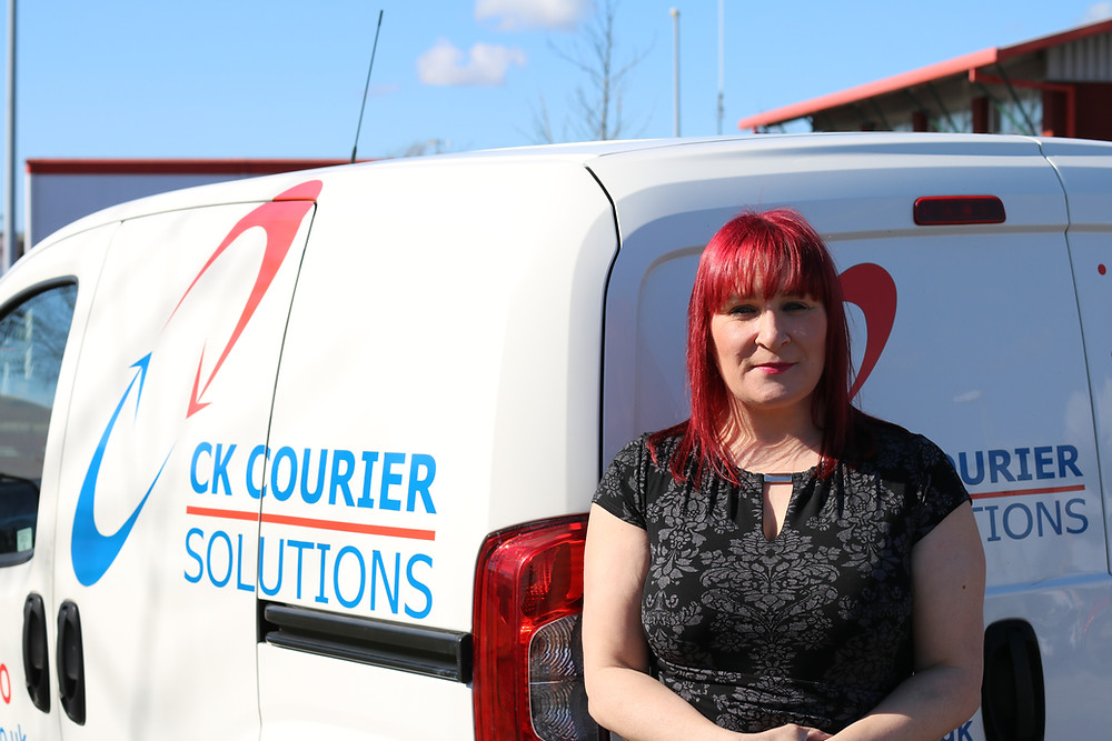 Michelle Lee and a CK Couriers van.