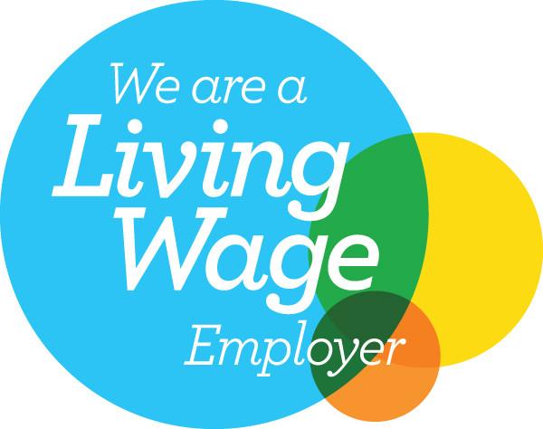 Living wage employer accreditation logo.