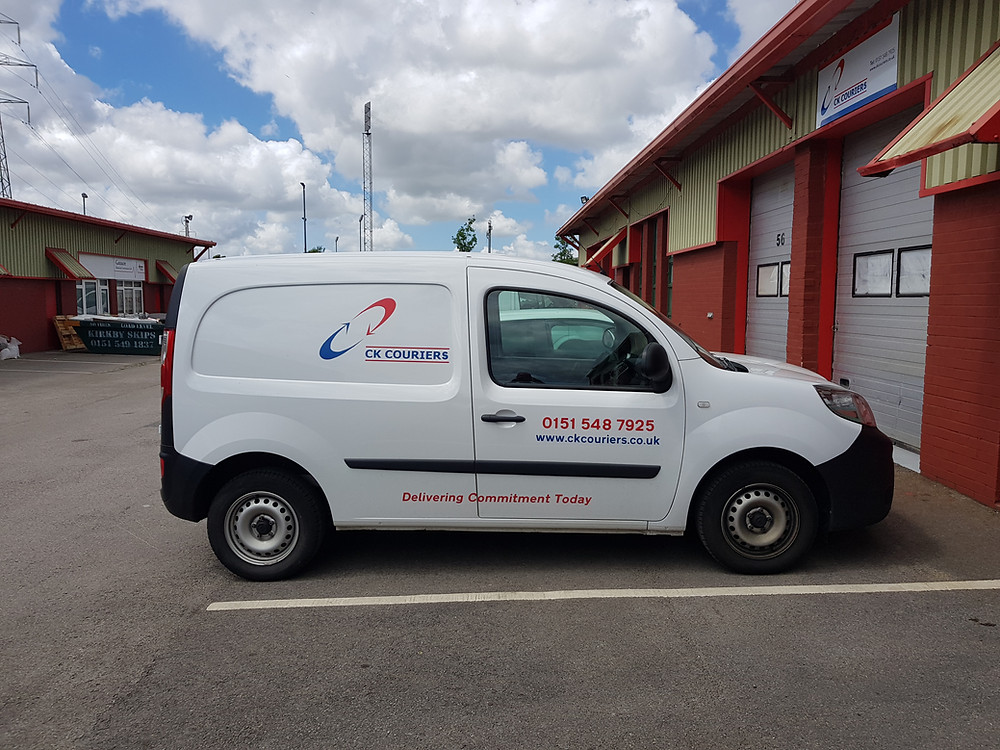 A courier services van