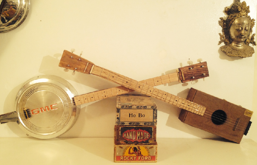 Hubcap banjo and Relic 4 string CBG