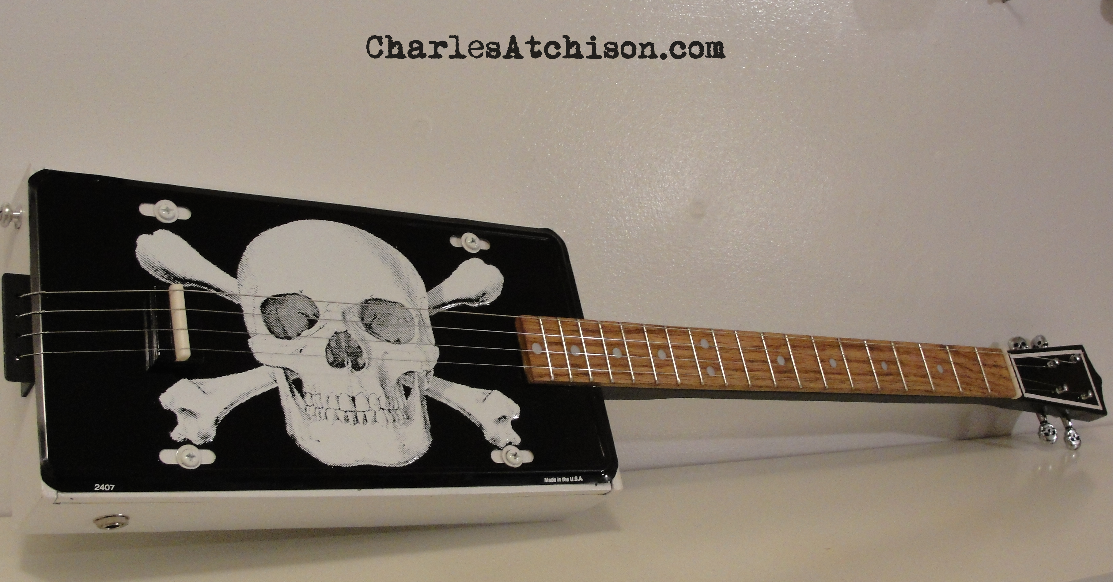 4 string skull and bones guitar