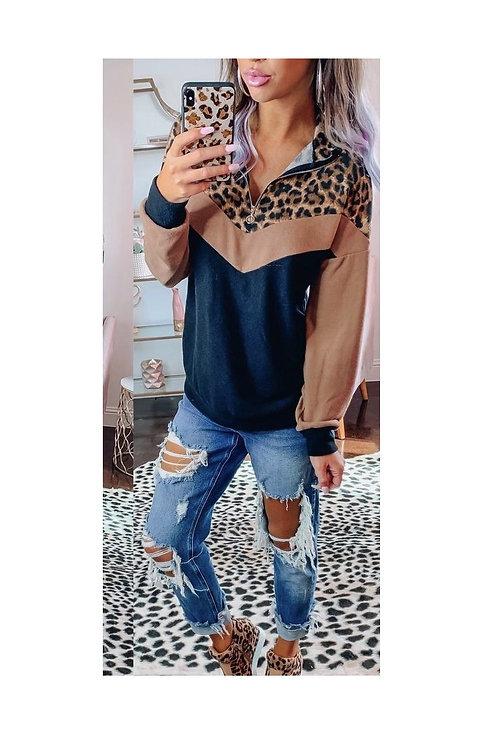 Camel Leopard Half Zip Pullover