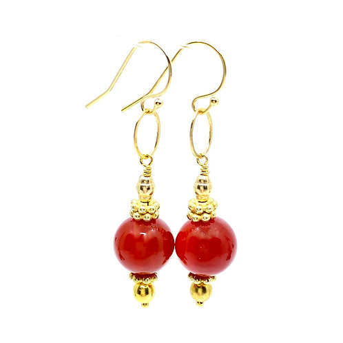 Carnelian and Gold GemDrop Earrings