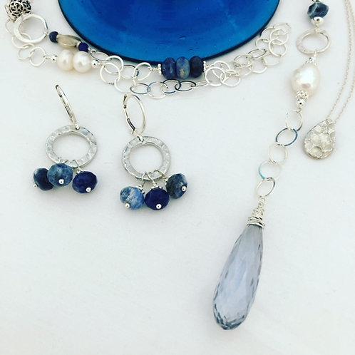 Lapis Lazuli Silver Hoops Earrings