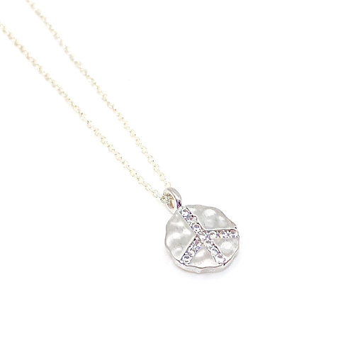 Silver Peace Sign  Charm Necklace