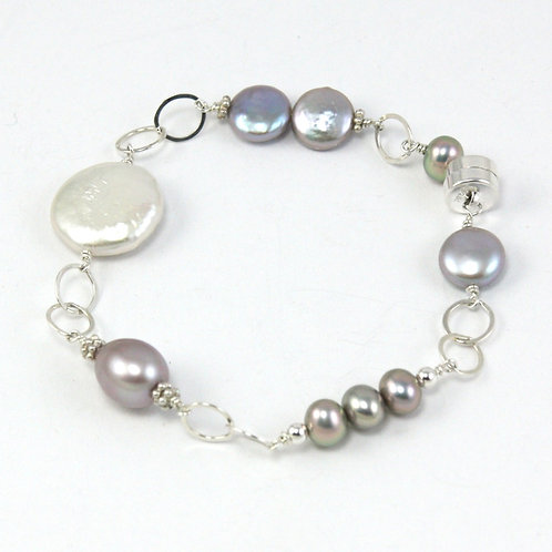 Shine: Grey Coin Pearl Bracelet