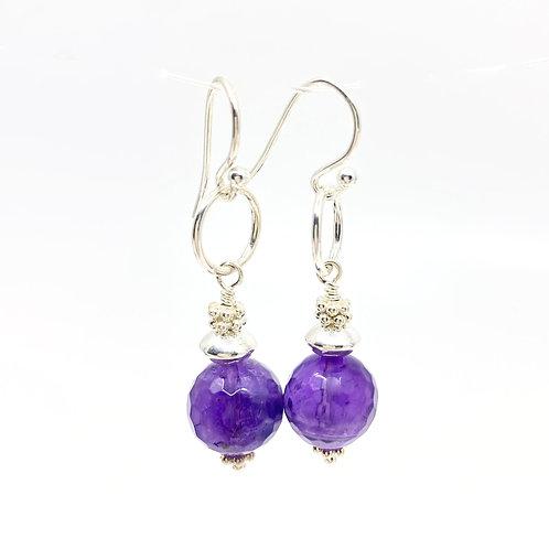 Amethyst GemDrop Earrings - Silver