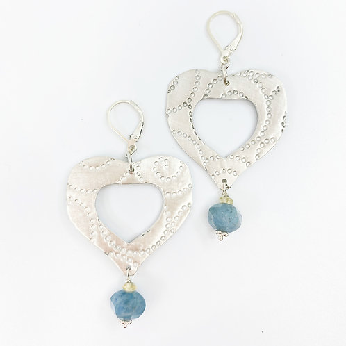 Silver Heart and Blue Quartz Earrings