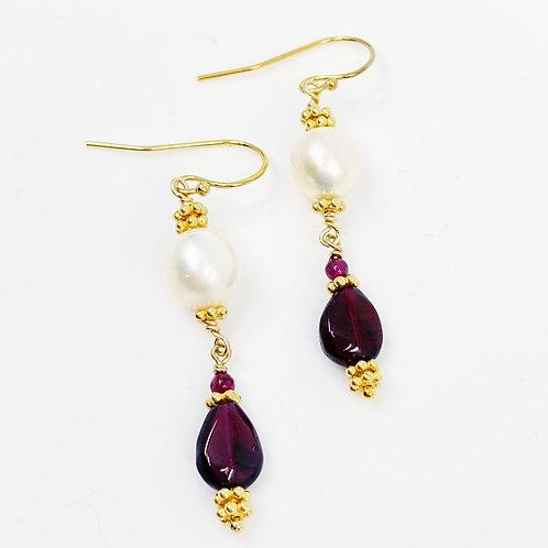 Freshwater Pearl and Garnet Teardrop Earrings
