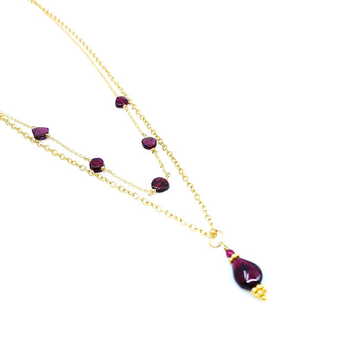 Garnet and Gold Chain, Double Strand Necklace