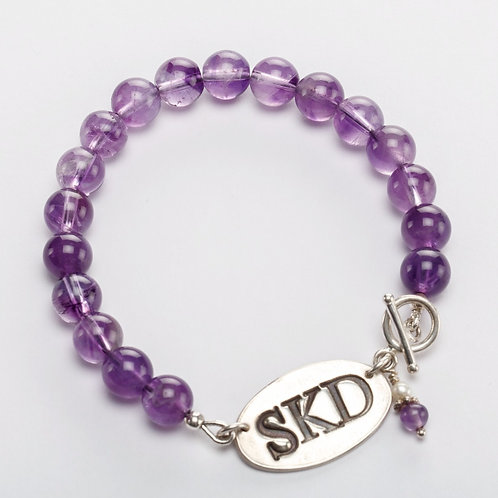 Monogram Silver Charm and Gemstone Bracelet, up to 3 initials