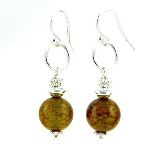 Brown Agate GemDrop Earrings