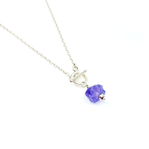 Amethyst Gemstone Nugget Necklace, Sterling Silver