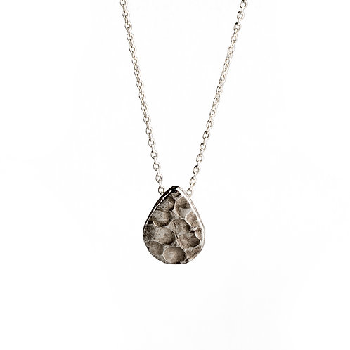 Hammered Silver Teardrop Necklace