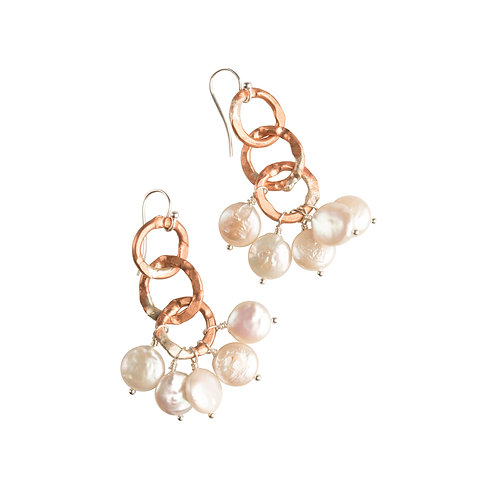Rustic Copper & Pearl Earrings