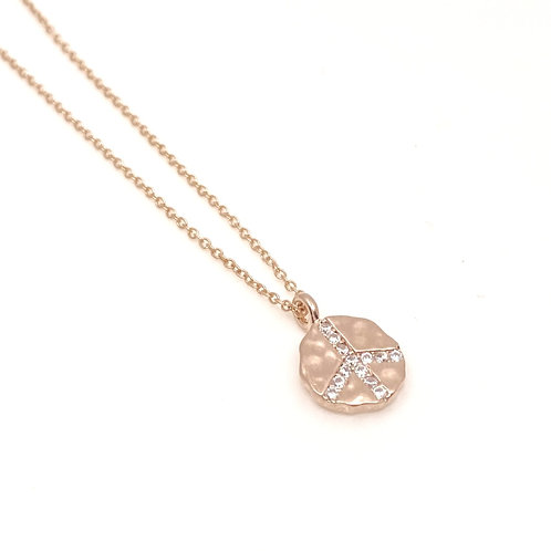 Rosegold Peace Sign Charm Necklace