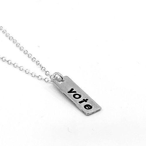 VOTE rectangle bar necklace