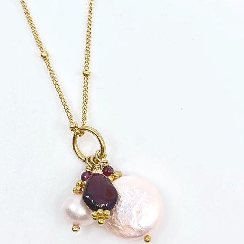 Pink Pearldrop and Garnet, Gold Necklace