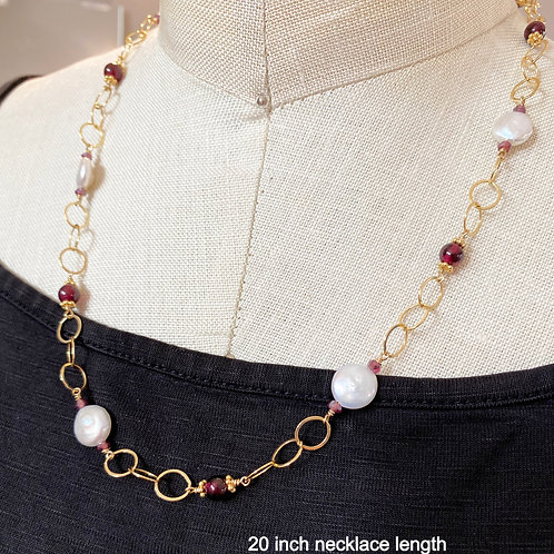 Coin Pearl and Garnets on Large Link Gold Chain, Versatile ways to wear