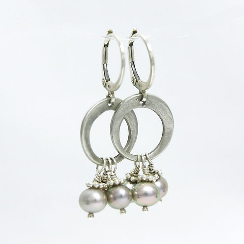 Tahitian Pearl Silver Hoop Earrings