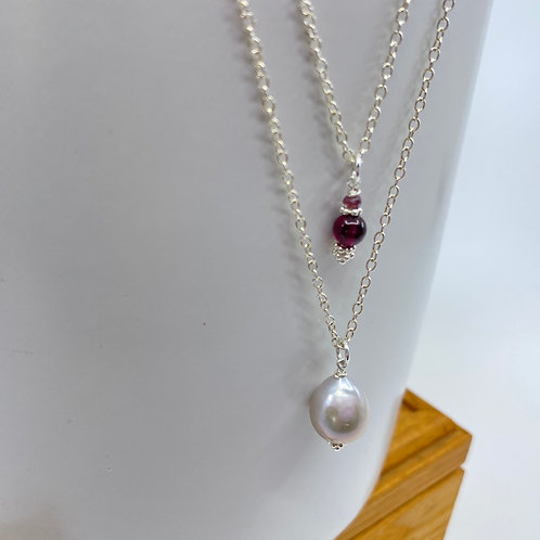 Grey Baroque Pearl and Garnet, Double Silver Chain Necklace