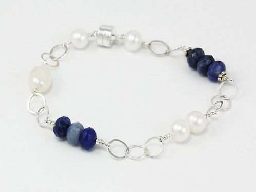 Shine: Lapis Lazuli and Pearl Bracelet