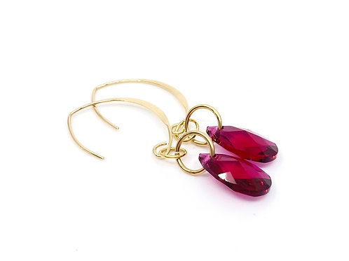 Gold and Ruby Crystal Earrings