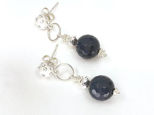 Onyx GemDrop Earrings - Silver