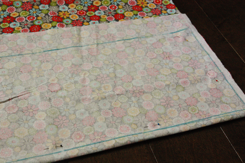 Fabric lengthwise and marked