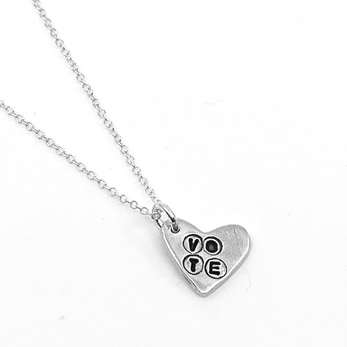 VOTE heart charm necklace
